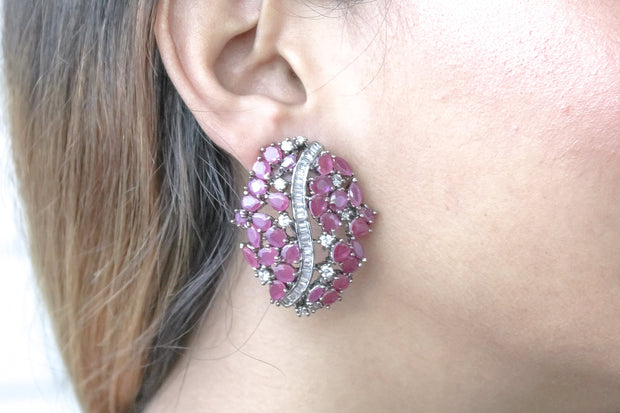 Natural Zircon Red & Champagne Dragon's Egg Earrings