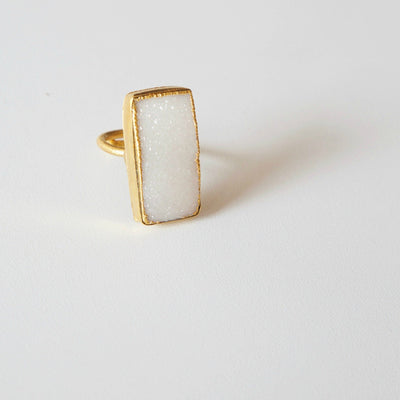 Cannes Rectangle Druzy Ring - Joy of London Jewels
