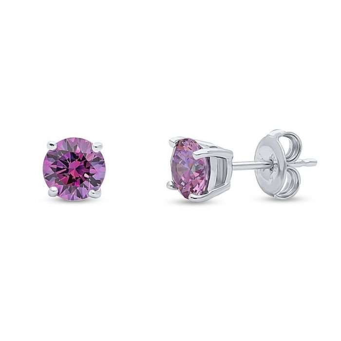 1.68TCW Round Cut Purple Swarovski Zirconia Stud Earrings - Joy of London Jewels