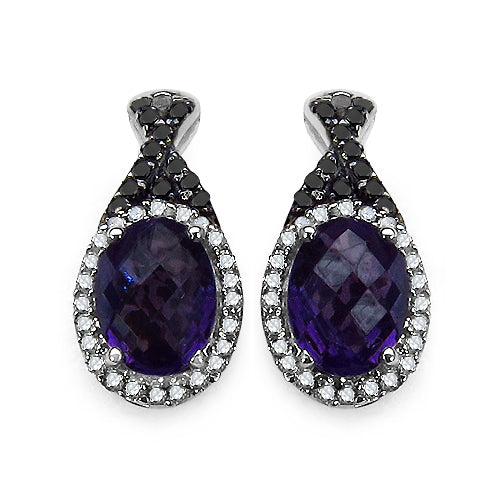 2.71 Carat Genuine Amethyst Black Diamond & White Diamond .925 - Joy of London Jewels