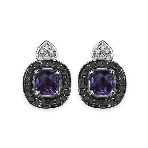 1.36 Carat Genuine Amethyst, Black Diamond & White Diamond .925