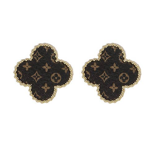 Up Cycled LV Gold Beveled Clover Earrings - Joy of London Jewels
