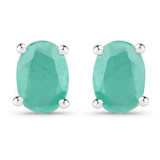 Natural 1.6TCW Green Emerald Stud Earrings - Joy of London Jewels