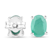 Natural 1.6TCW Green Emerald Stud Earrings