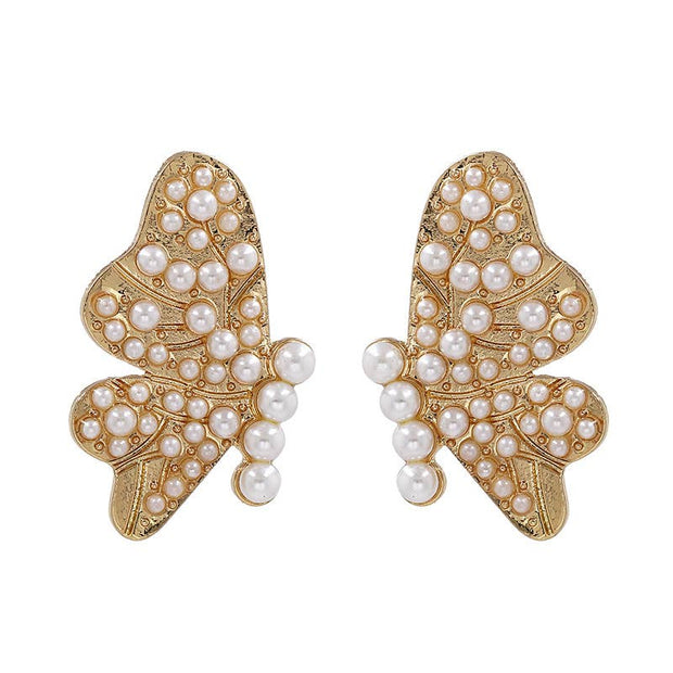 Pearl Butterfly Stud Floral Earrings - Joy of London Jewels