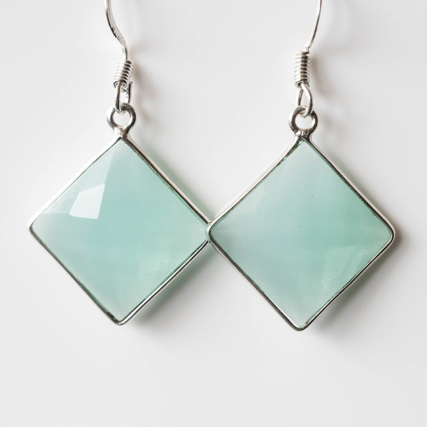 Natural Chalcedony Square Drop Earrings