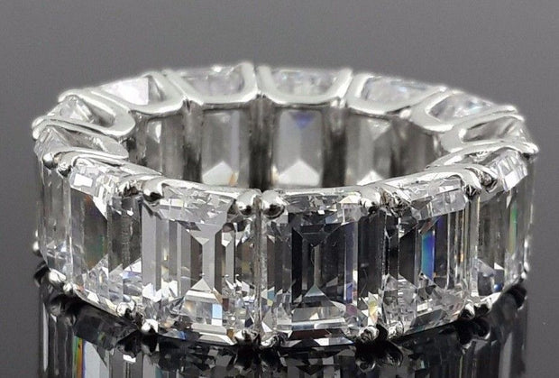 The Ingrid, A Museum Perfect 32.5TCW Emerald Cut Russian Lab Diamond Eternity Ring