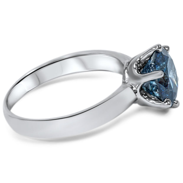 14K White Gold 2CT Round Cut Blue Diamond Solitaire Engagement Ring