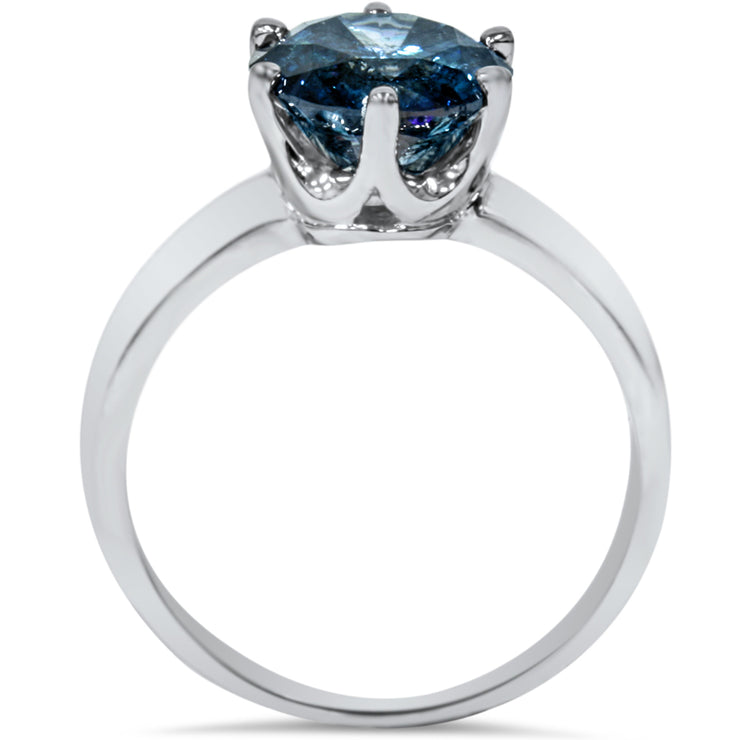 14K White Gold 2CT Round Cut Blue Diamond Solitaire Engagement Ring - Joy of London Jewels