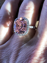 A Flawless Fancy Pink 5.8CT Cushion Cut Belgium Lab Diamond Halo Engagement Ring - Joy of London Jewels