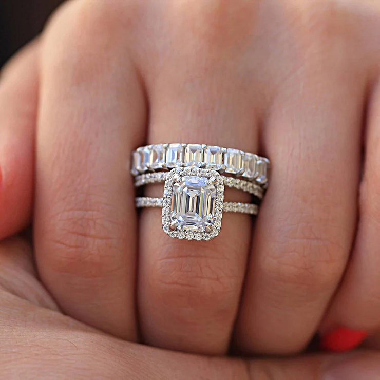 The Paget, A 14K White Gold 5.5TCW Emerald Cut Moissanite Diamond Bridal Set - Joy of London Jewels