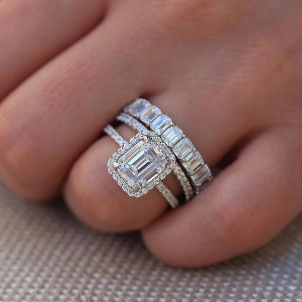 The Paget, A 14K White Gold 3.5CT Emerald Cut Moissanite Diamond Bridal Set