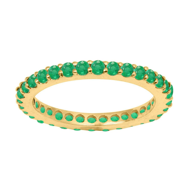 14K Yellow Gold 2mm Colombian Natural Green Emerald Full Eternity Stacking Ring