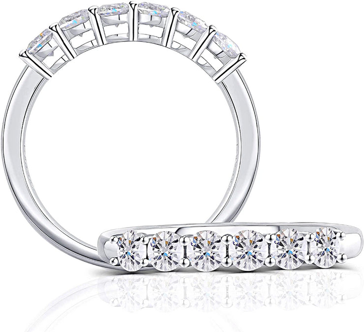 14K White Gold .65TCW Moissanite 3mm Moissanite Half Eternity Band - Joy of London Jewels