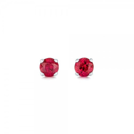 7mm Round Cut Red Ruby CZ Stud Earrings - Joy of London Jewels