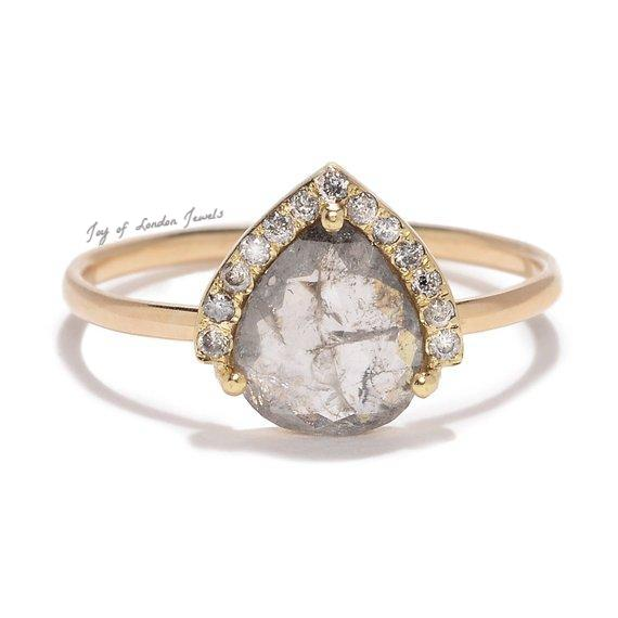 A 14K Yellow Gold Natural 1CT Pear Cut Light Grey Diamond Engagement Ring - Joy of London Jewels