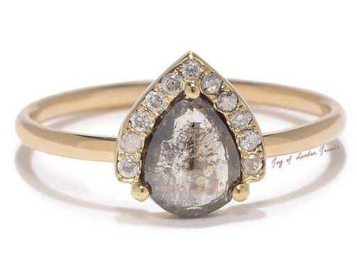 A 14K Yellow Gold Natural .85CT Pear Cut Light Grey Diamond Engagement Ring - Joy of London Jewels