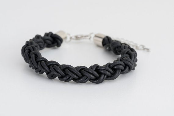 Men or Women's Black Braided Bracelet - Joy of London Jewels