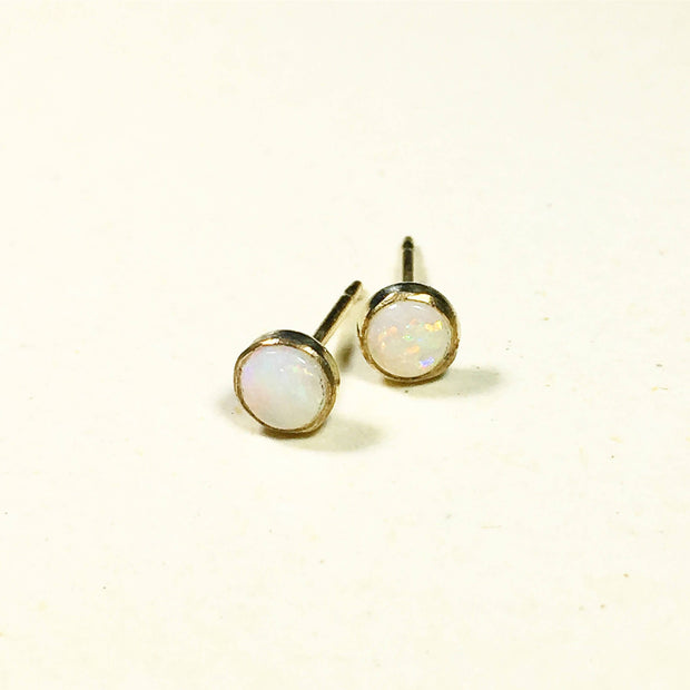 Natural Rainbow Opal Stud Earrings - Opal Birthstone Earrings - Joy of London Jewels