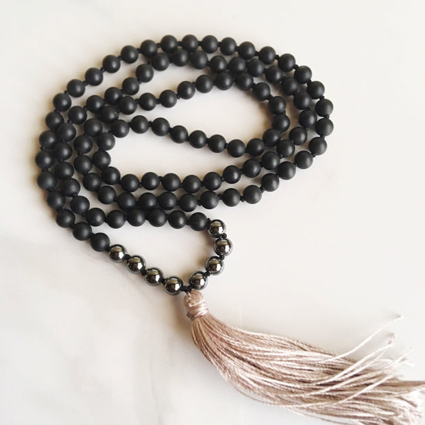 Black Onyx & Hematite 108 Mala Necklace - Joy of London Jewels