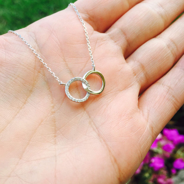 Double Halo Sterling Silver Necklace