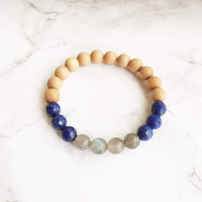 Labradorite, Lapis Lazuli & Sandalwood Bracelet - Joy of London Jewels