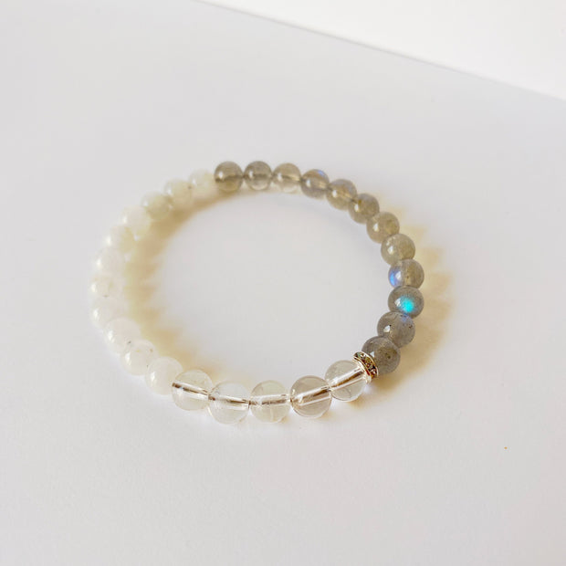 Crystal Quartz, Labradorite & Moonstone Bracelet - Joy of London Jewels