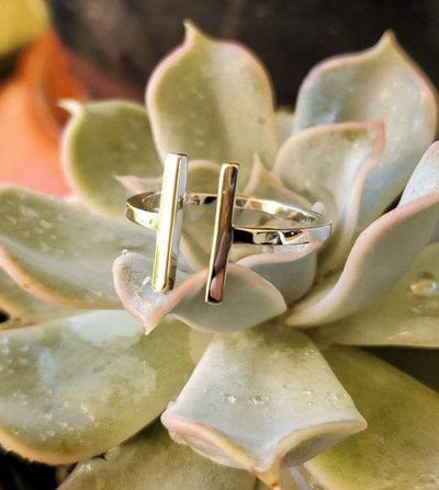 Solid Double Bar Sterling Silver Ring