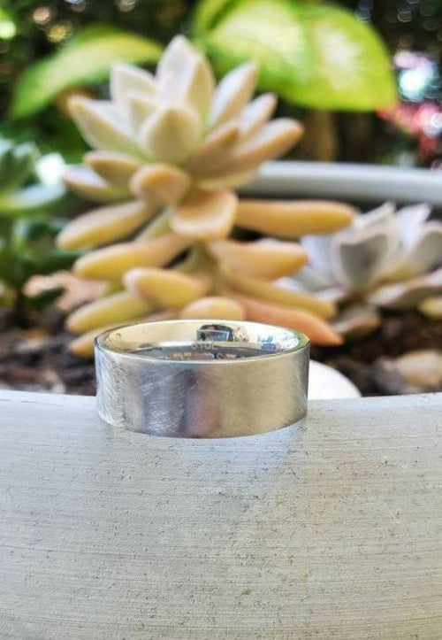 Men's 8mm Stainless Steel Mixed Brushed Wedding Band