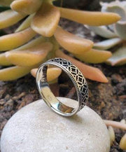 Moroccan Style Oxidized Sterling Silver Unisex Wedding Band Ring