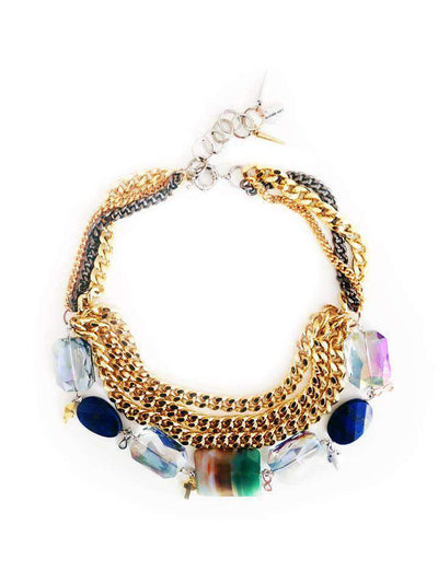 18K Yellow Gold Blue Lapis Lazuli & Swarovski Necklace