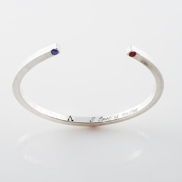 Cuff Bracelet in Recycled Sterling Silver with - Joy of London Jewels
