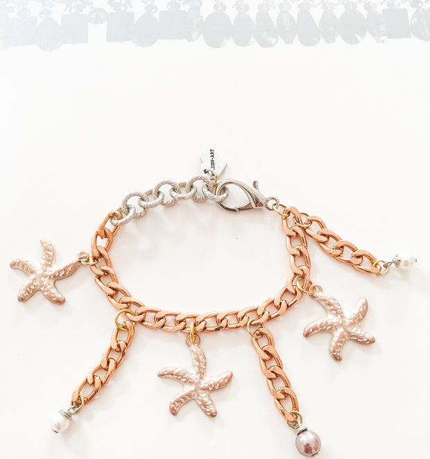 Statement Bracelet with Starfish Charms and Pearls - Joy of London Jewels