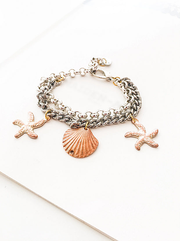 Statement Bracelet with Shell and Starfish Charms. - Joy of London Jewels
