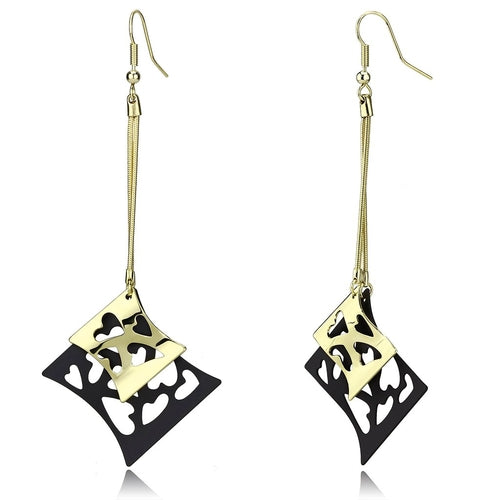 14K Yellow Gold+Ruthenium Heart Earrings
