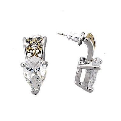 Italian Reverse Two-Tone Pear Cut Zirconia Studs