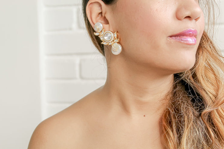 Natural Baroque Pearl Magadi Climber Earrings - Joy of London Jewels