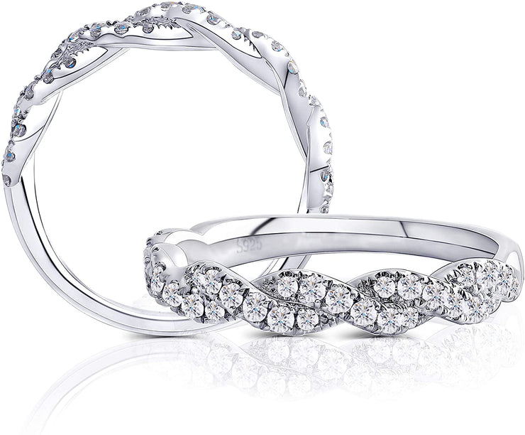 .45TCW Moissanite Twist Wedding Band - Joy of London Jewels