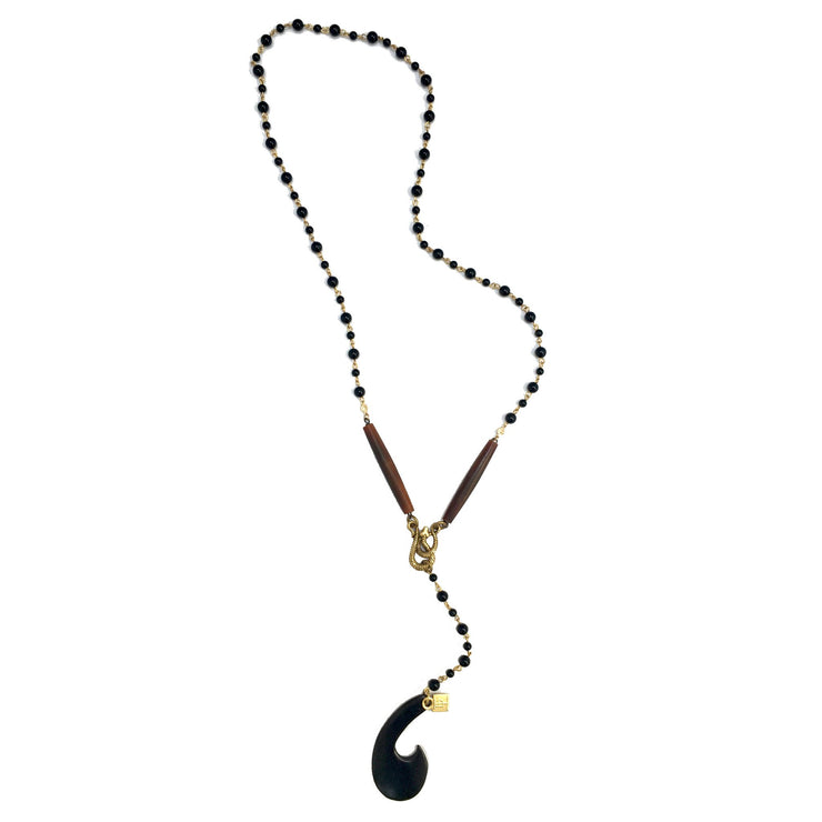 Handmade Black Onyx Lariat Necklace - Joy of London Jewels