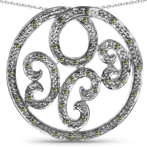 Celtic Ethically Mined Green Diamond Pendant Necklace