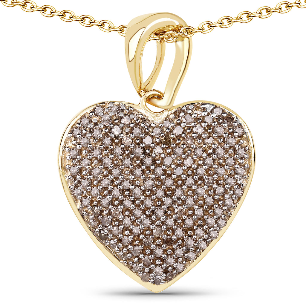 14K Yellow Gold Natural Mined Fancy Golden Chocolate Diamond Heart Pendant - Joy of London Jewels