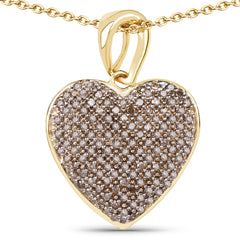 14K Yellow Gold Natural Mined Fancy Golden Chocolate Diamond Heart Pendant