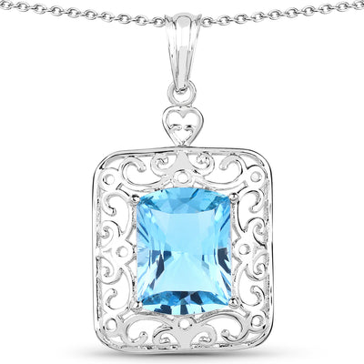 A Natural 13.51CT Cushion Shape Swiss Topaz and Tanzanite Halo Pendant Necklace - Joy of London Jewels