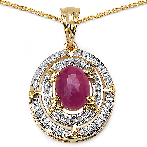 14K Yellow Gold Plated 2.41 Carat Genuine Pink Sapphire & White - Joy of London Jewels