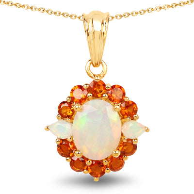 14K Yellow Gold Plated 2.78 Carat Genuine Ethiopian Opal & Madeira - Joy of London Jewels