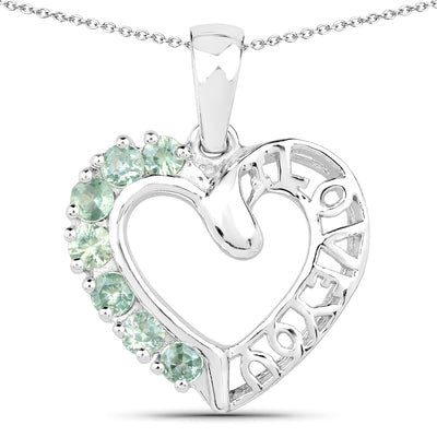 "Celtic Natural Green Sapphire ""Love You"" Pendant Necklace"