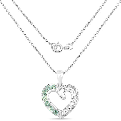 "Celtic Natural Green Sapphire ""Love You"" Pendant Necklace - Joy of London Jewels"