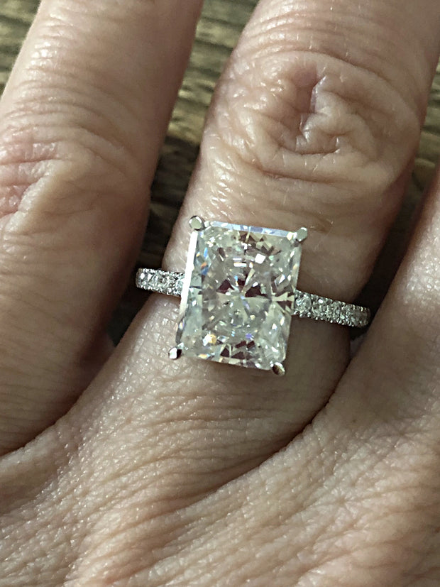 A 1.8CT Radiant Cut Moissanite Solitaire Engagement Ring - Joy of London Jewels