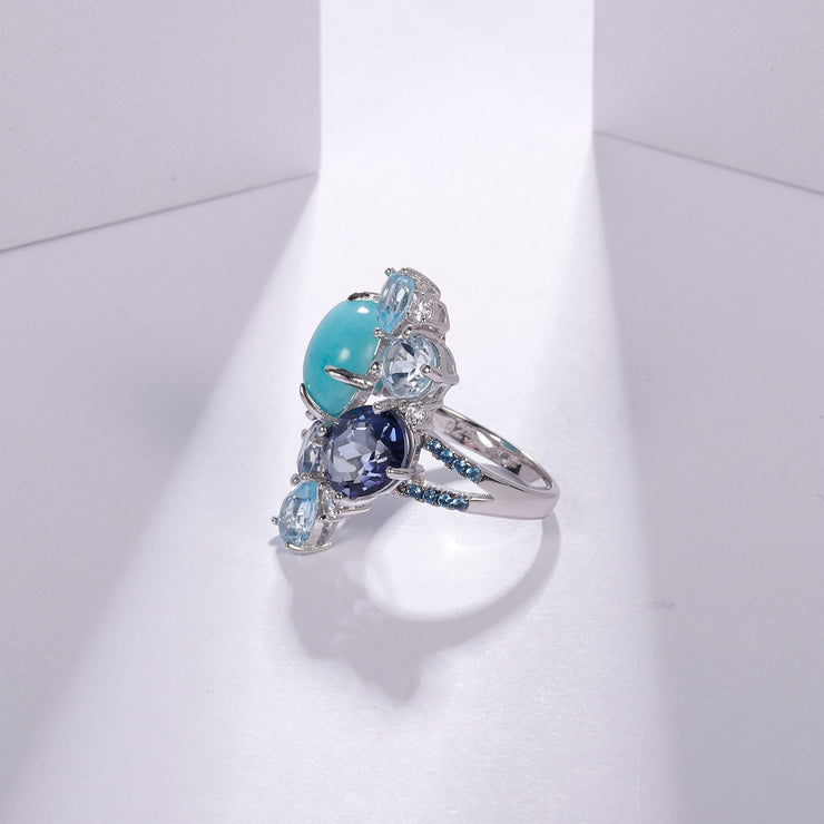 925 Sterling Silver Statement Rings Natural Amazonite Blue Topaz Set - Joy of London Jewels