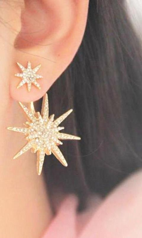 14K Yellow Gold Cubic Zirconia Starburst Drop Earrings - Joy of London Jewels
